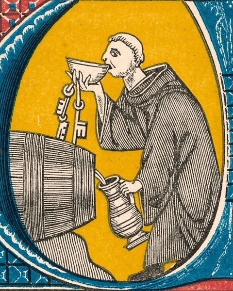 Irish monk drinking